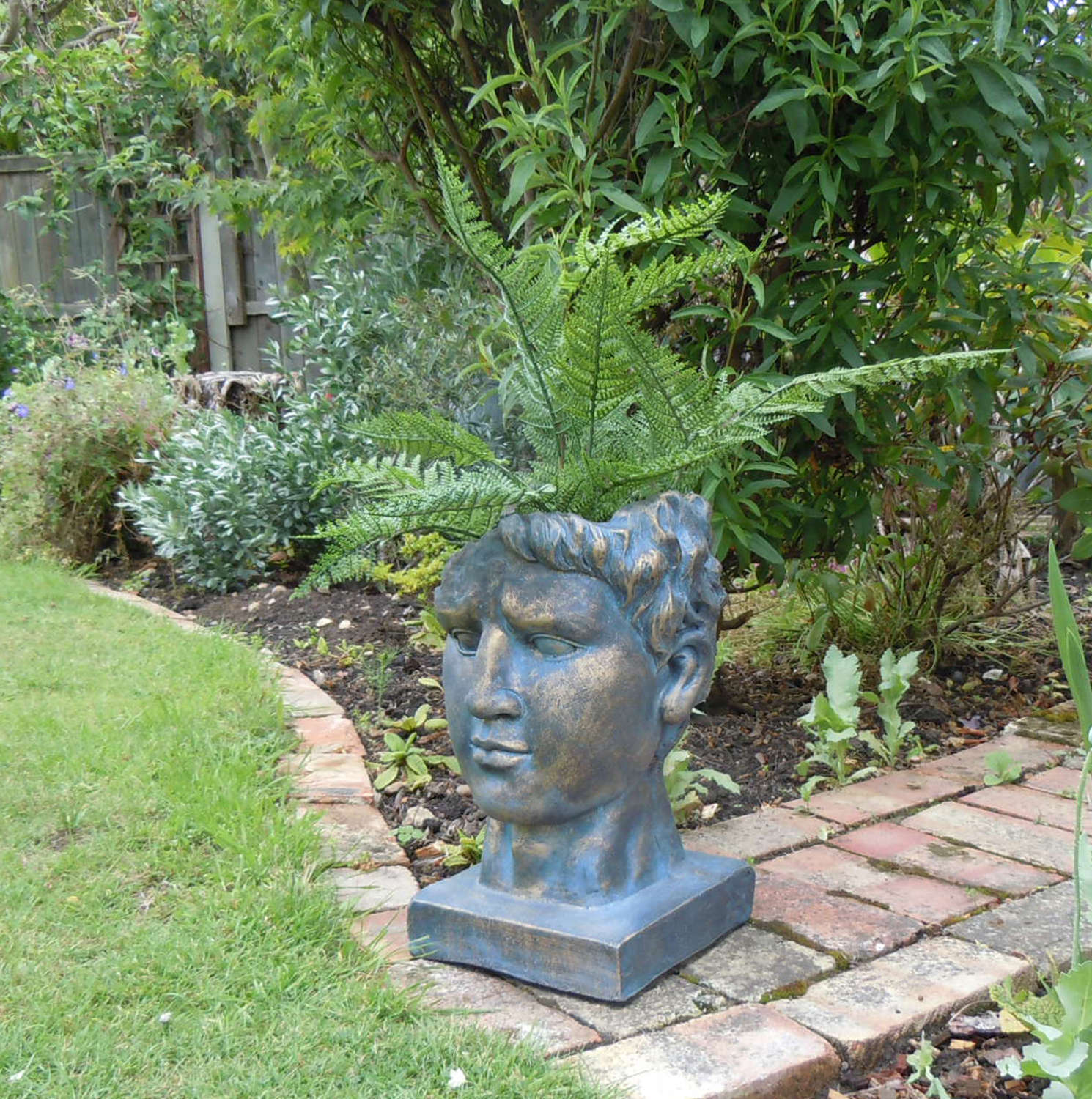 Antique bronze effect Roman head planter