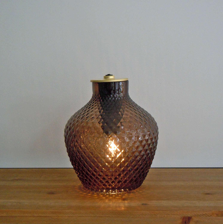 Brown diamond vase LED battery lamp