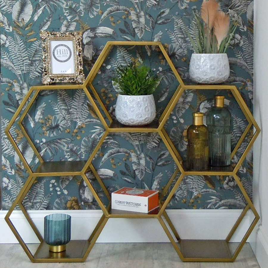 Antique bronze metal hexagonal floor standing shelving unit