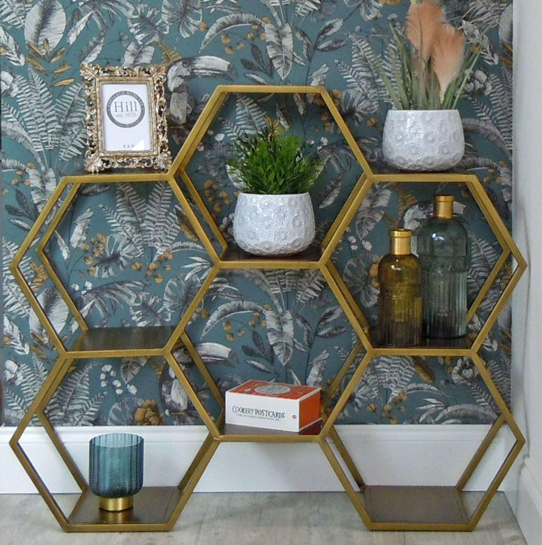 Antique bronze metal hexagonal floor standing shelving unit