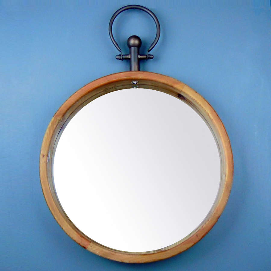 Urban style wooden framed round wall hanging mirror