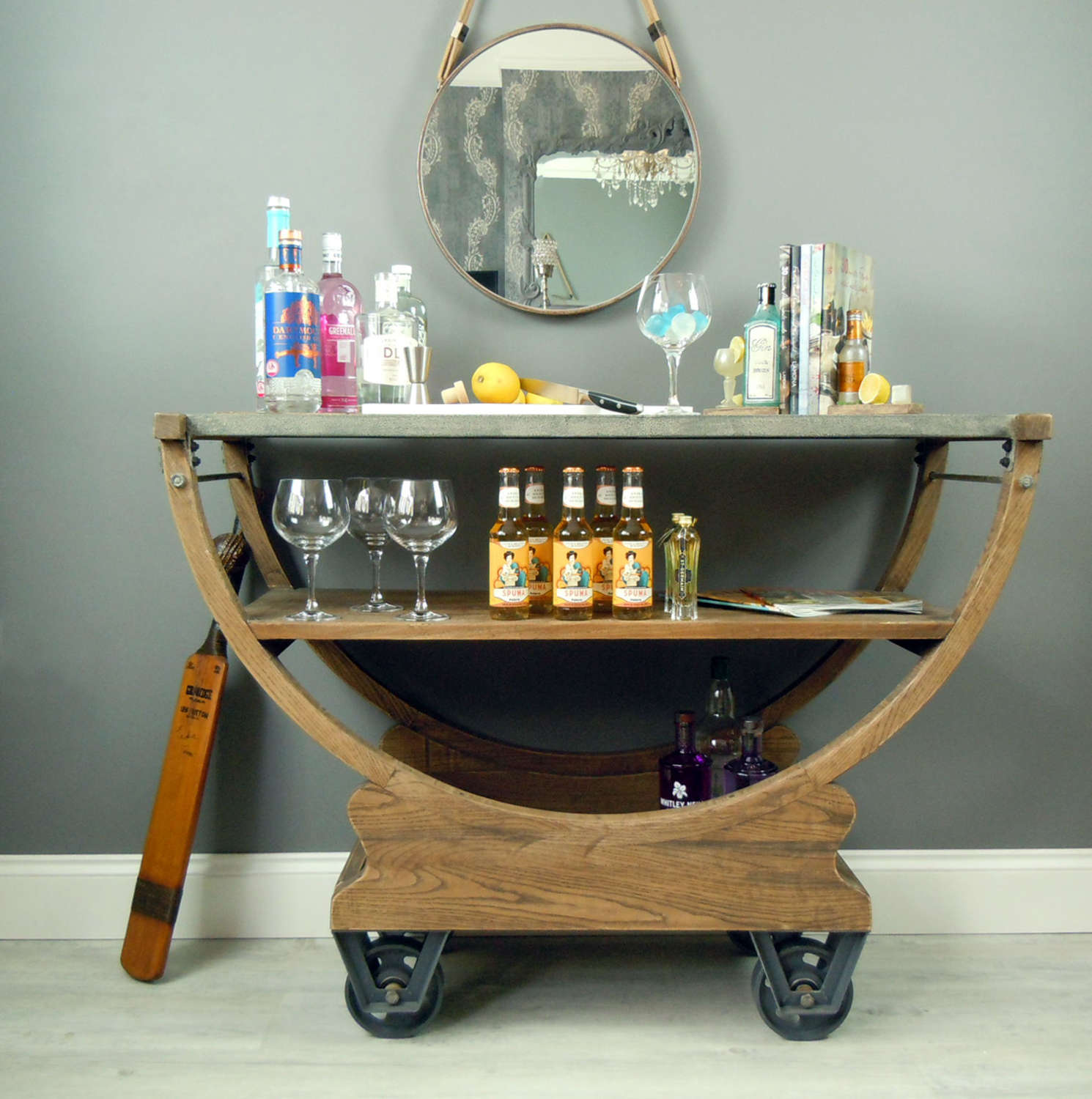 Hudson steel and wood console table cart on wheels