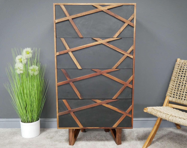 Oslo Sheesham wood modern tall chest of drawers