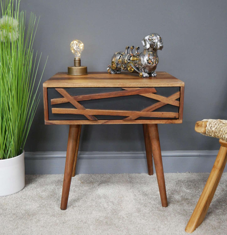 Oslo Sheesham wood modern bedside cabinet