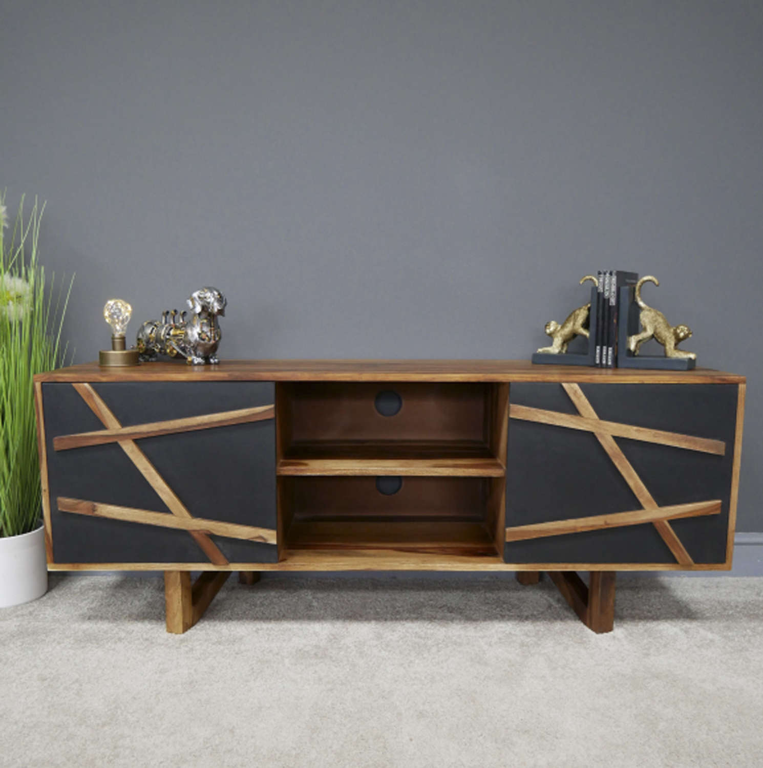 Oslo Sheesham wood modern TV cabinet
