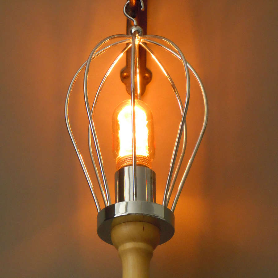Industrial wood and metal whisk light