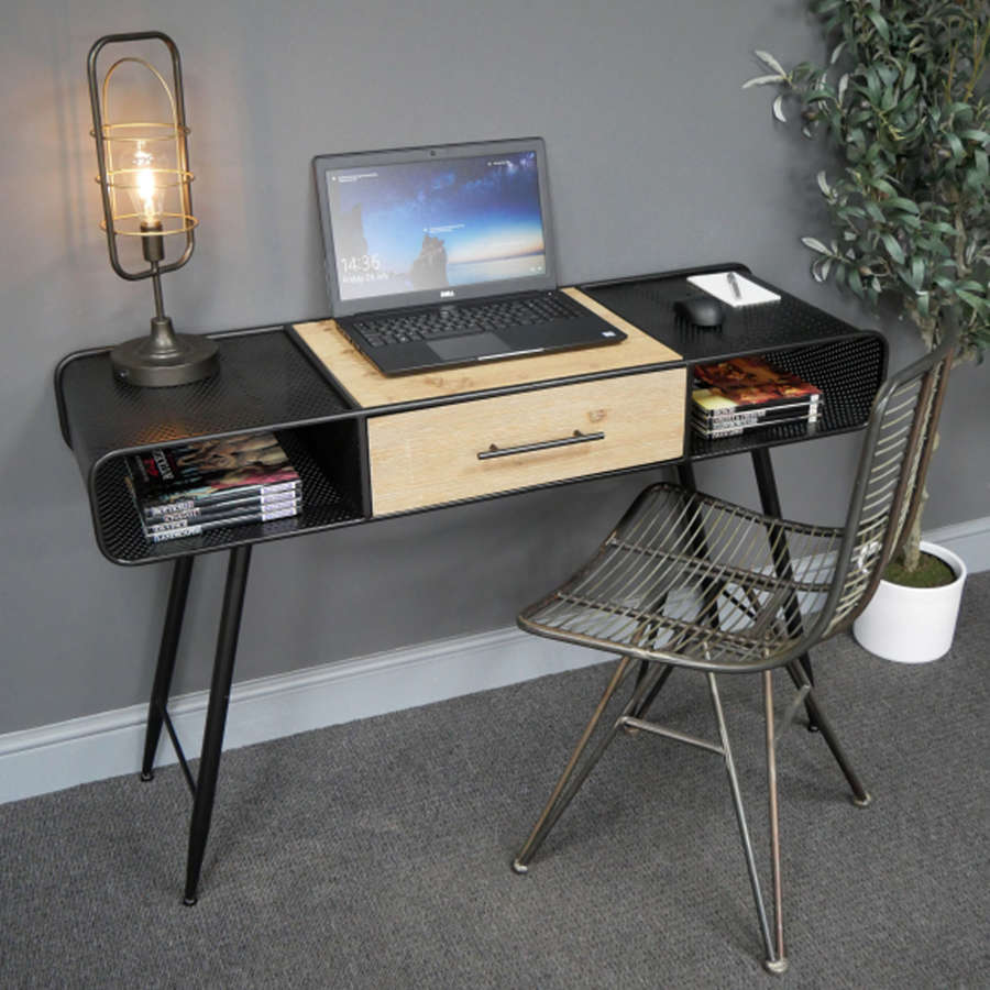 Industrial black metal desk