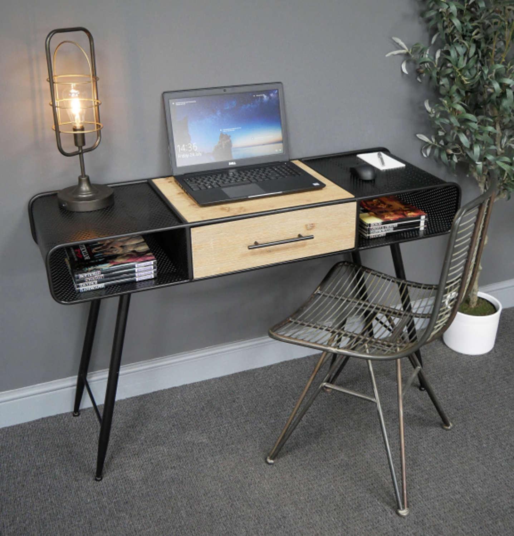 Industrial black metal desk