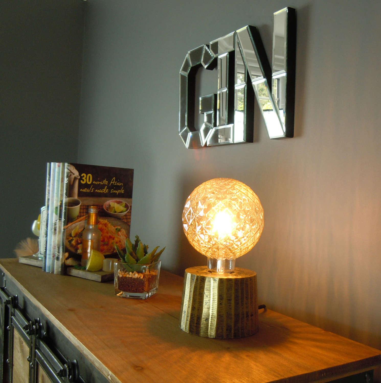 Clavan antique gold metal lamp
