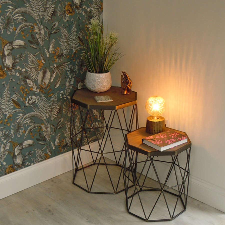 Industrial Iron & Fir wood hexagonal tables