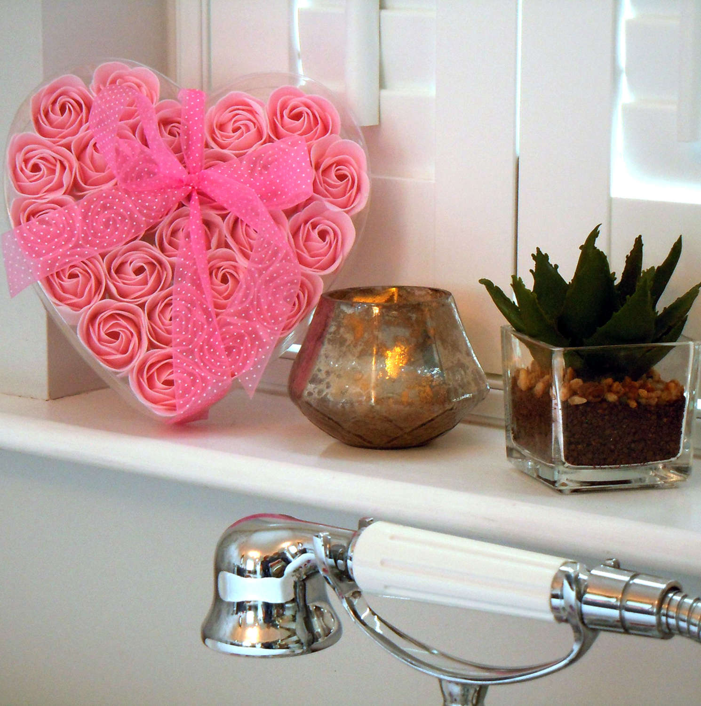 Set of twenty four Rose soap flowers in a heart box