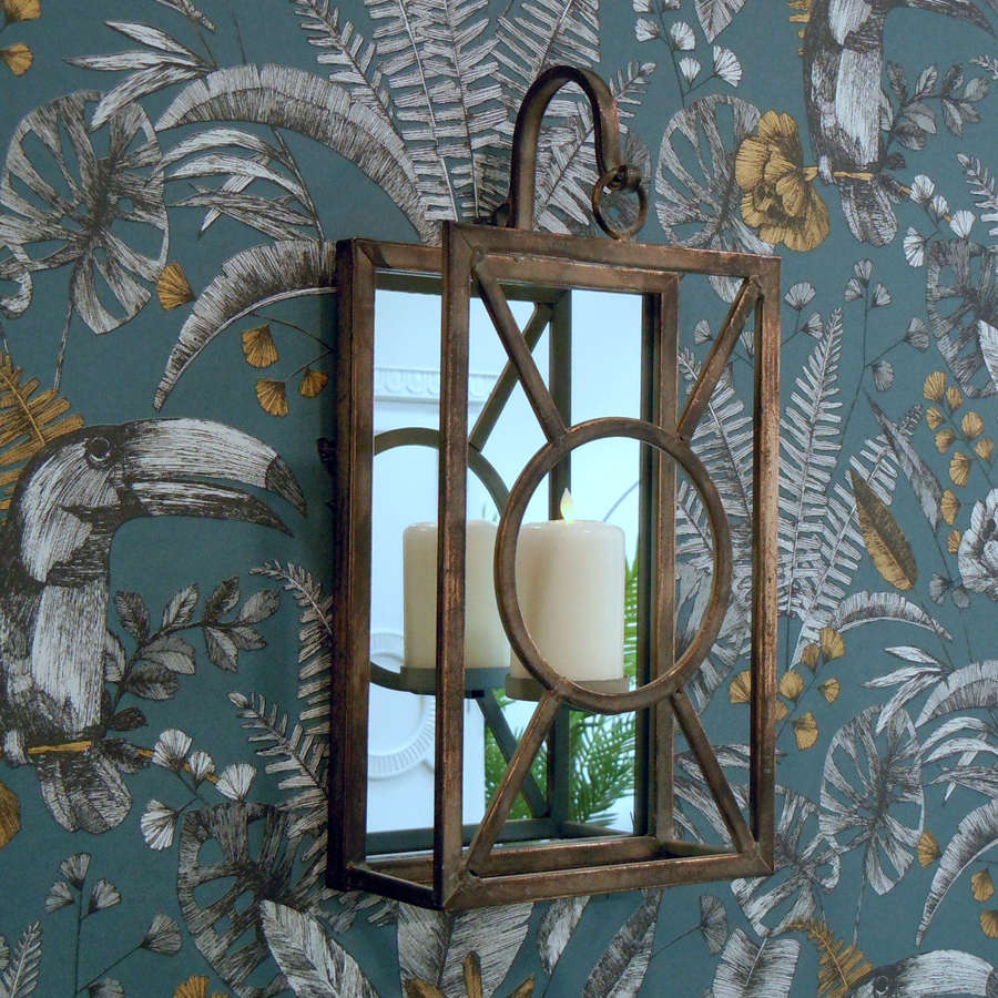 Bronze Metal wall hanging candle holder with mirrored back