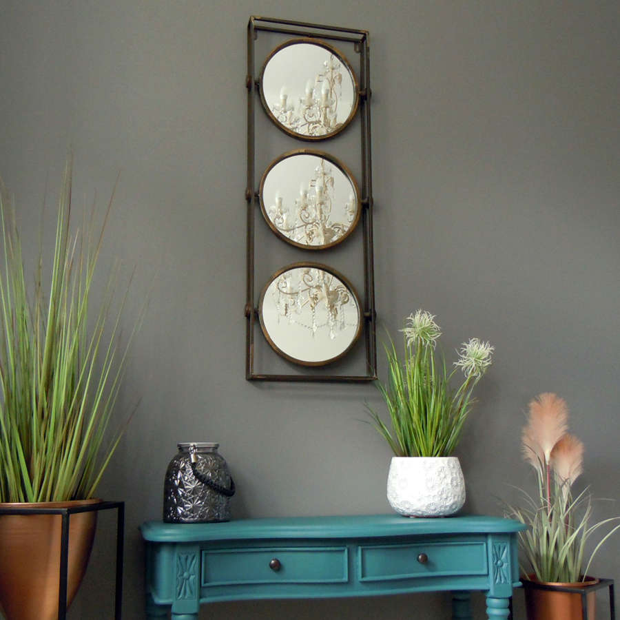 Urban industrial bronzed distressed triple metal mirror