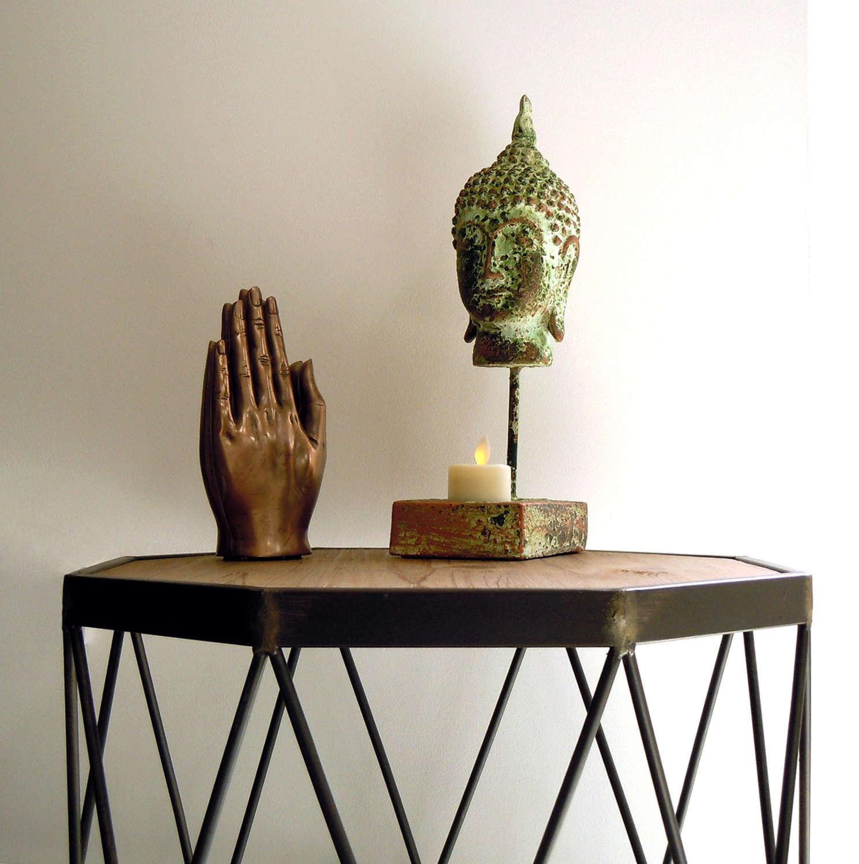 Buddha tealight holder in verdigris green finish