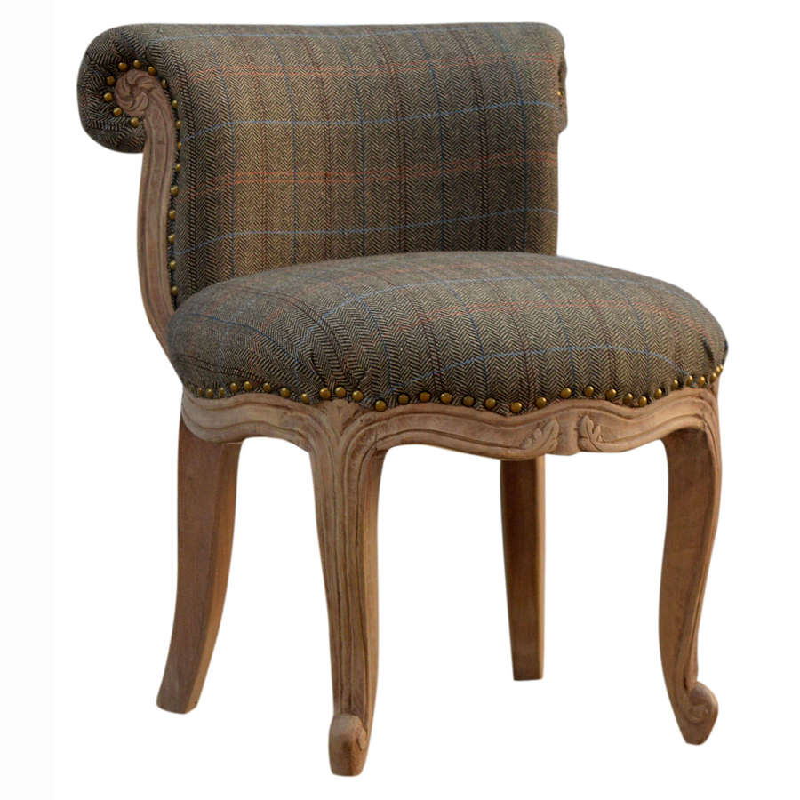 French style multi tweed studded chair