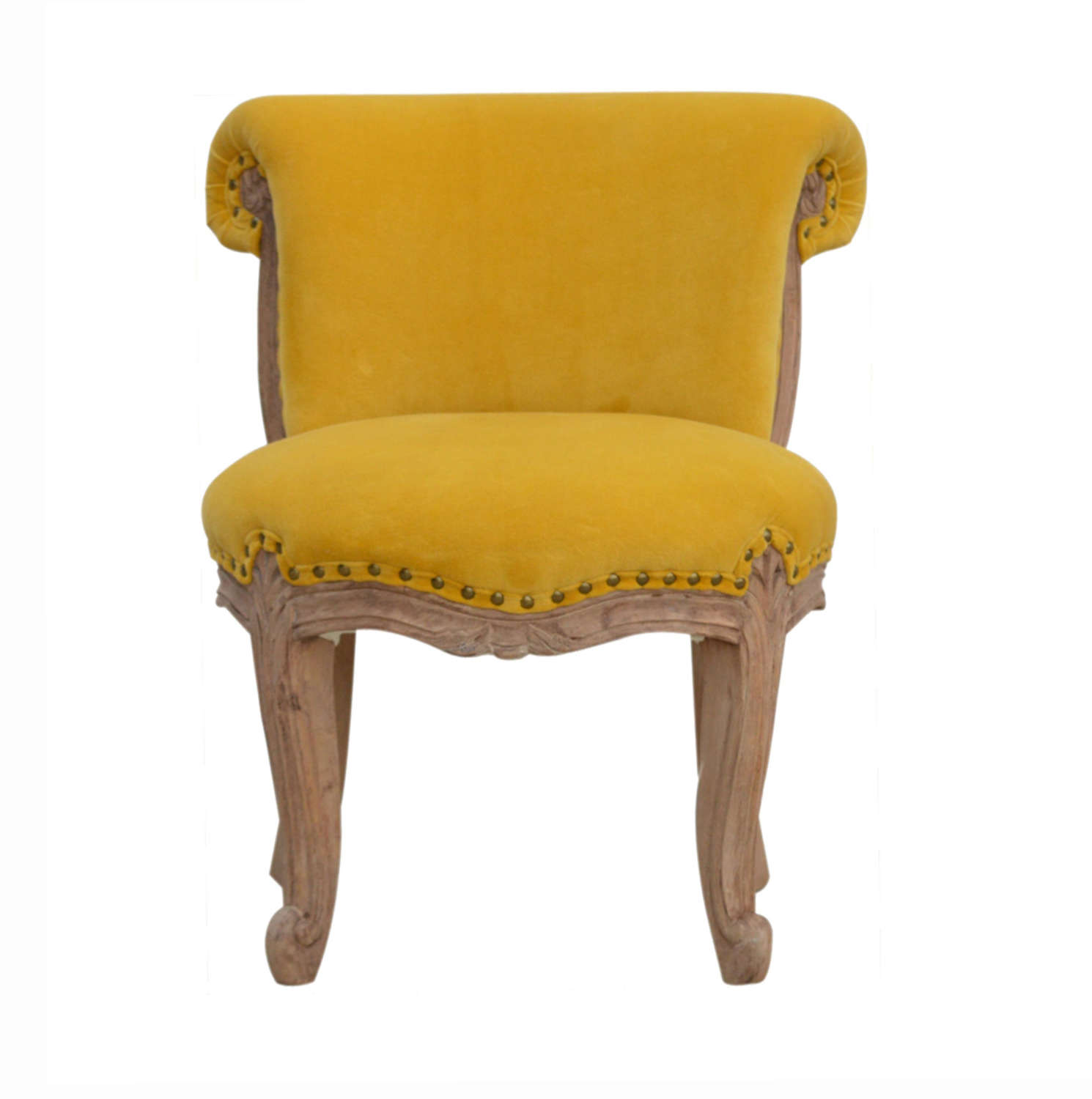 French style Mustard velvet studded chair