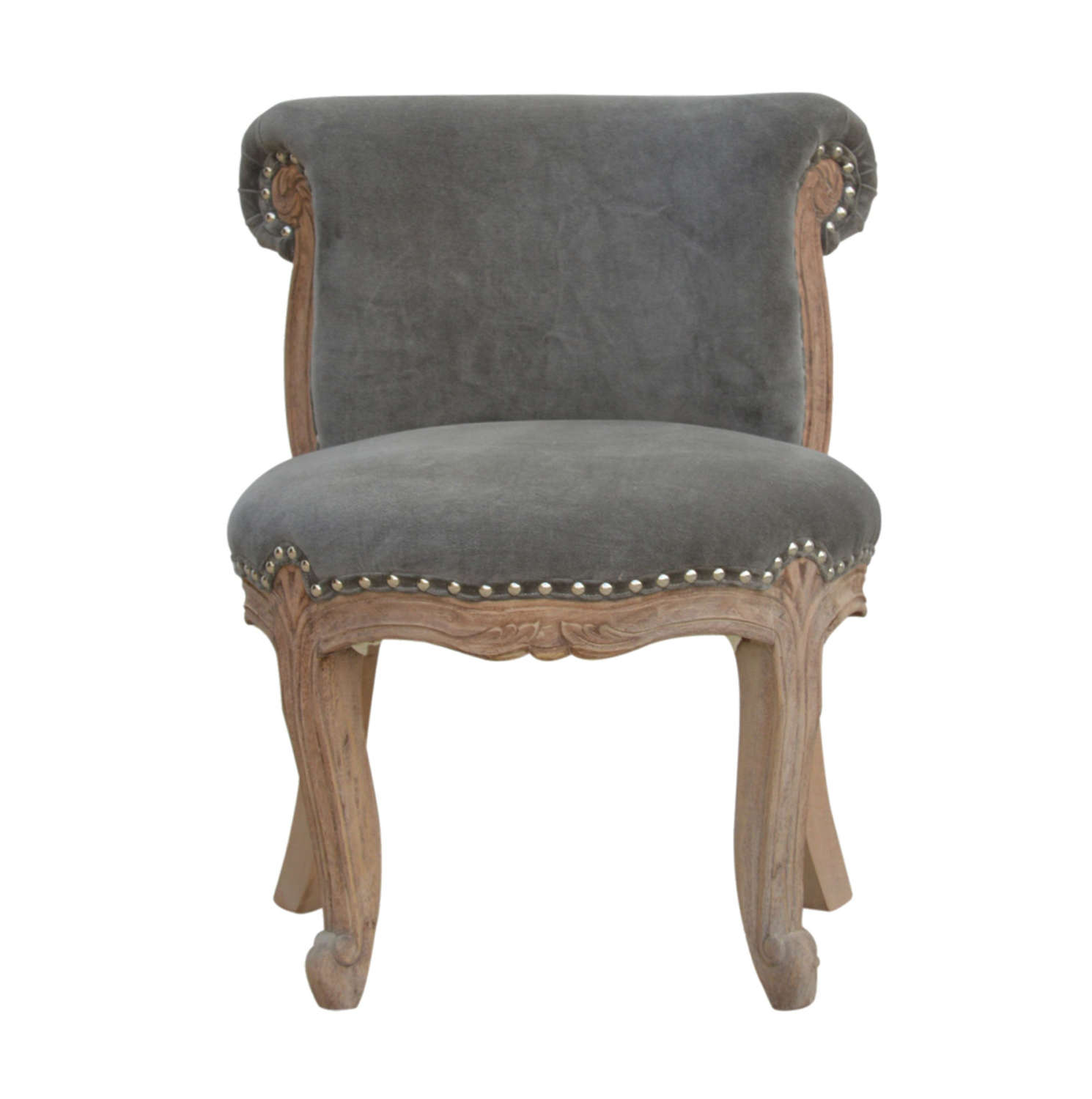 French style Grey velvet studded chair