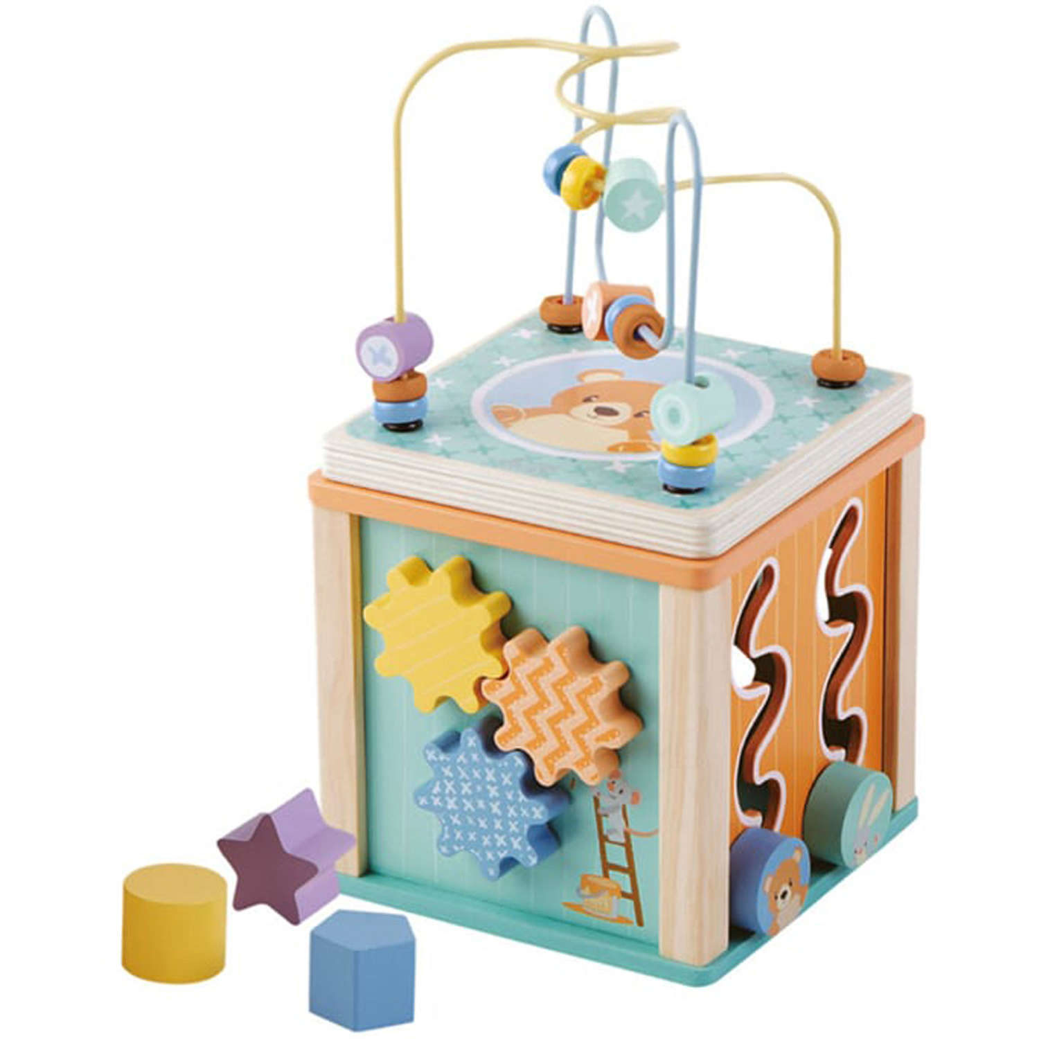 Wooden activity play cube