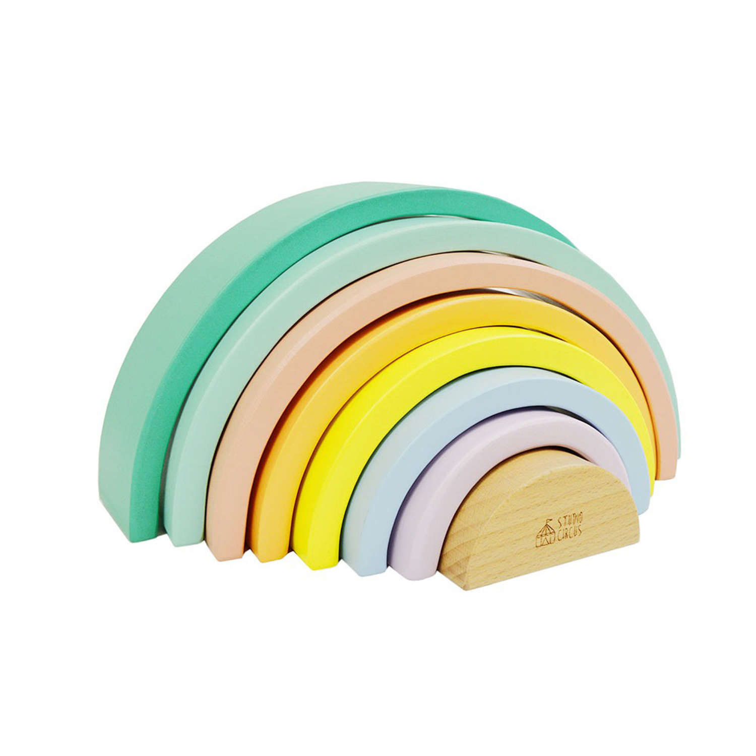 Pastel colours wooden Stacking Rainbow