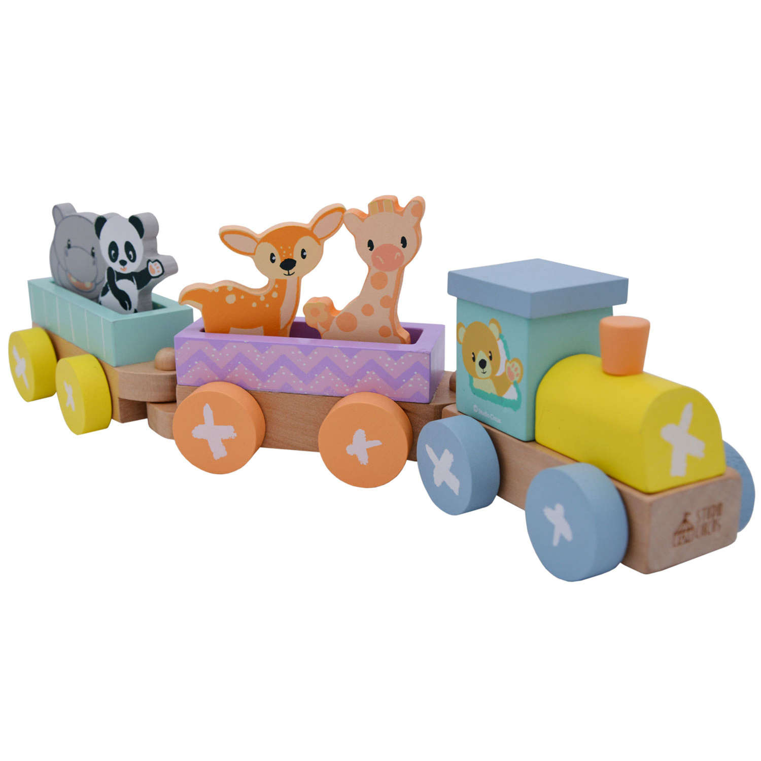 Pastel coloured train set with animals