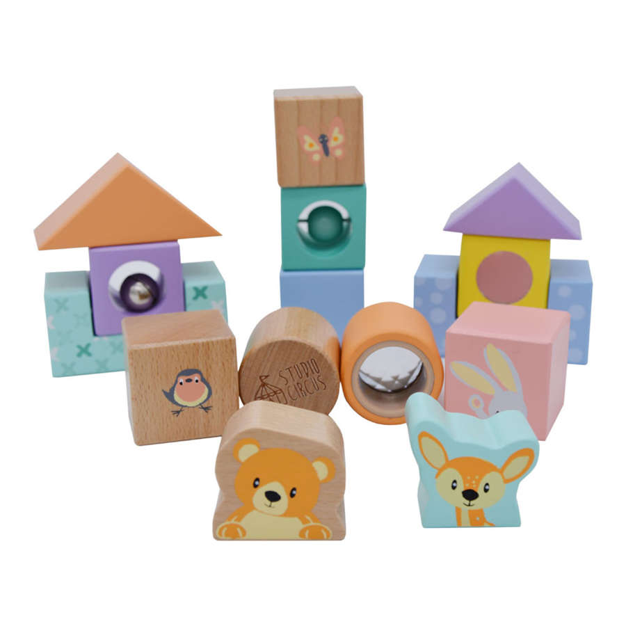 Pastel coloured set of 15 wooden discovery blocks