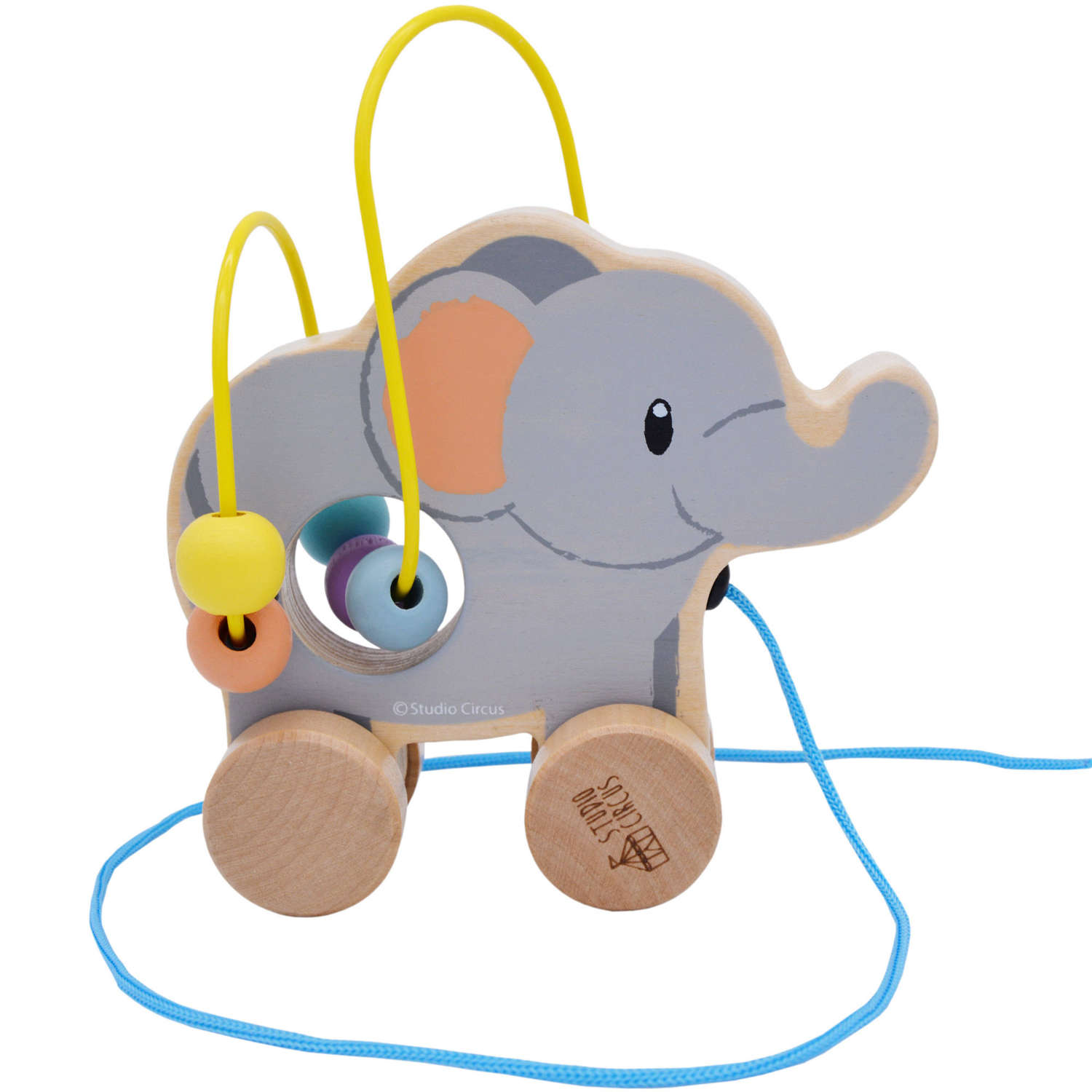 Pastel coloured wooden rolling bead coaster Elephant