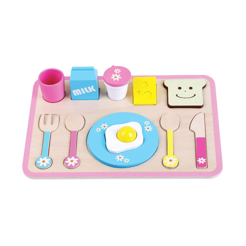 Wooden breakfast set on tray