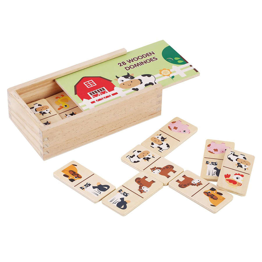 Wooden Farm dominoes