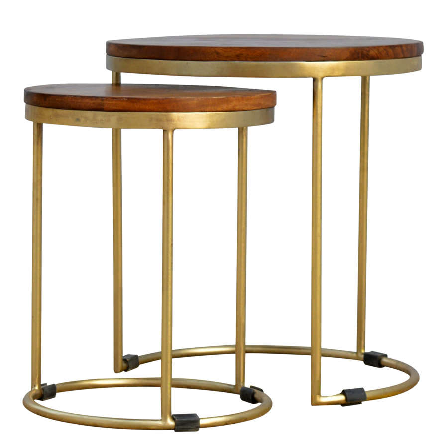 Hampton solid Mango and gold Iron nest of two tables