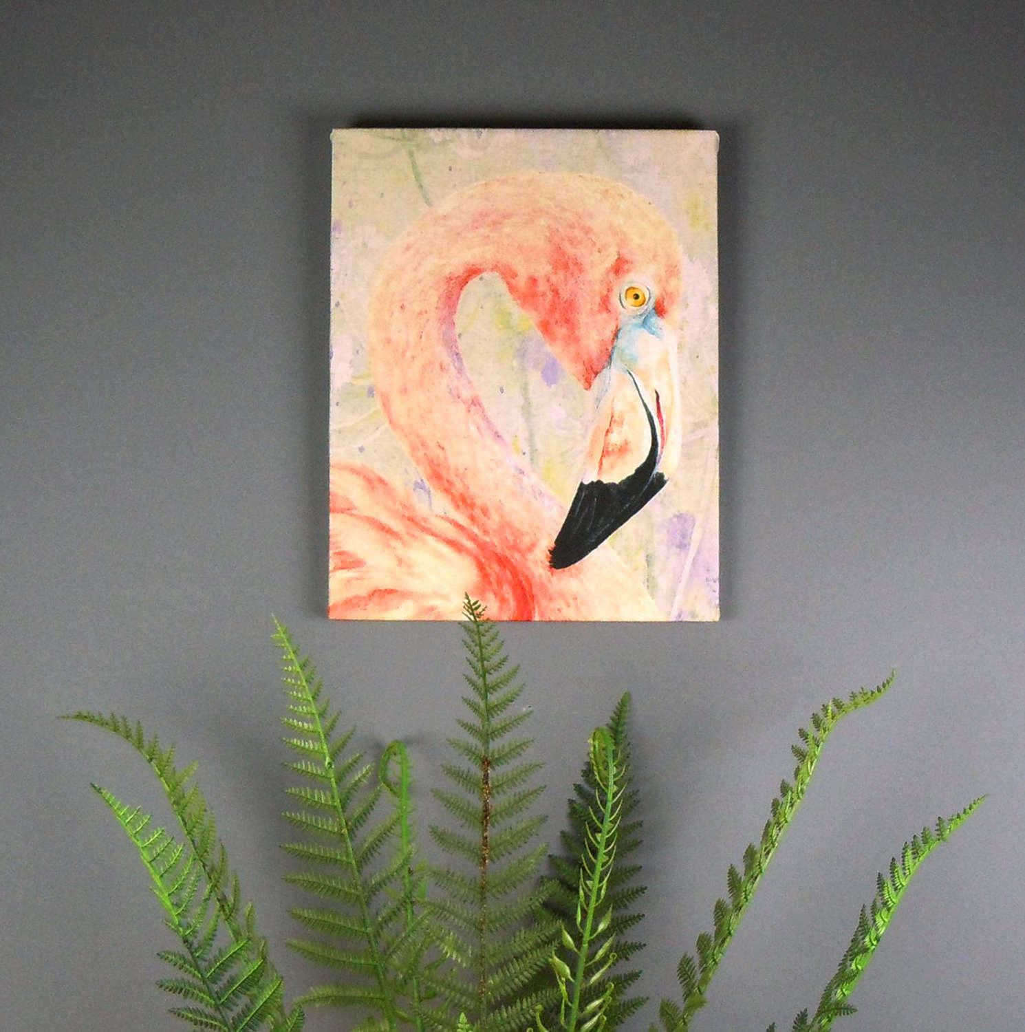 Flamingo watercolour printed on canvas by Jane Bannon Field & Fur