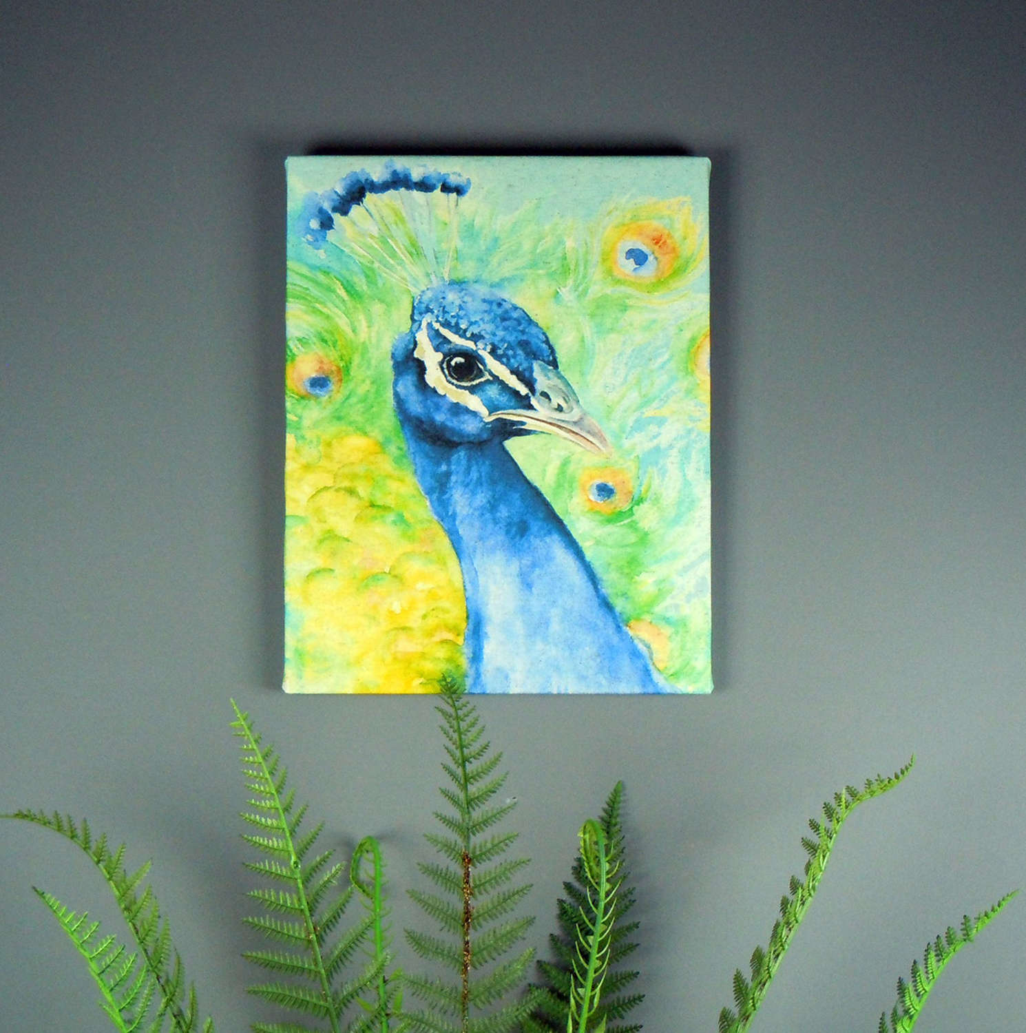Peacock watercolour printed on canvas by Jane Bannon Field & Fur
