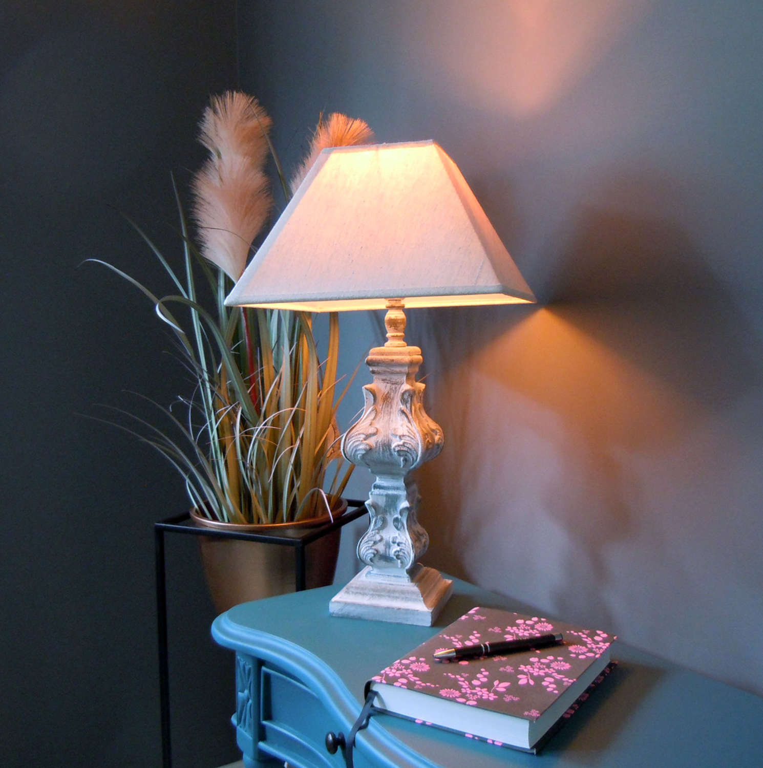 French Country style distressed table lamp