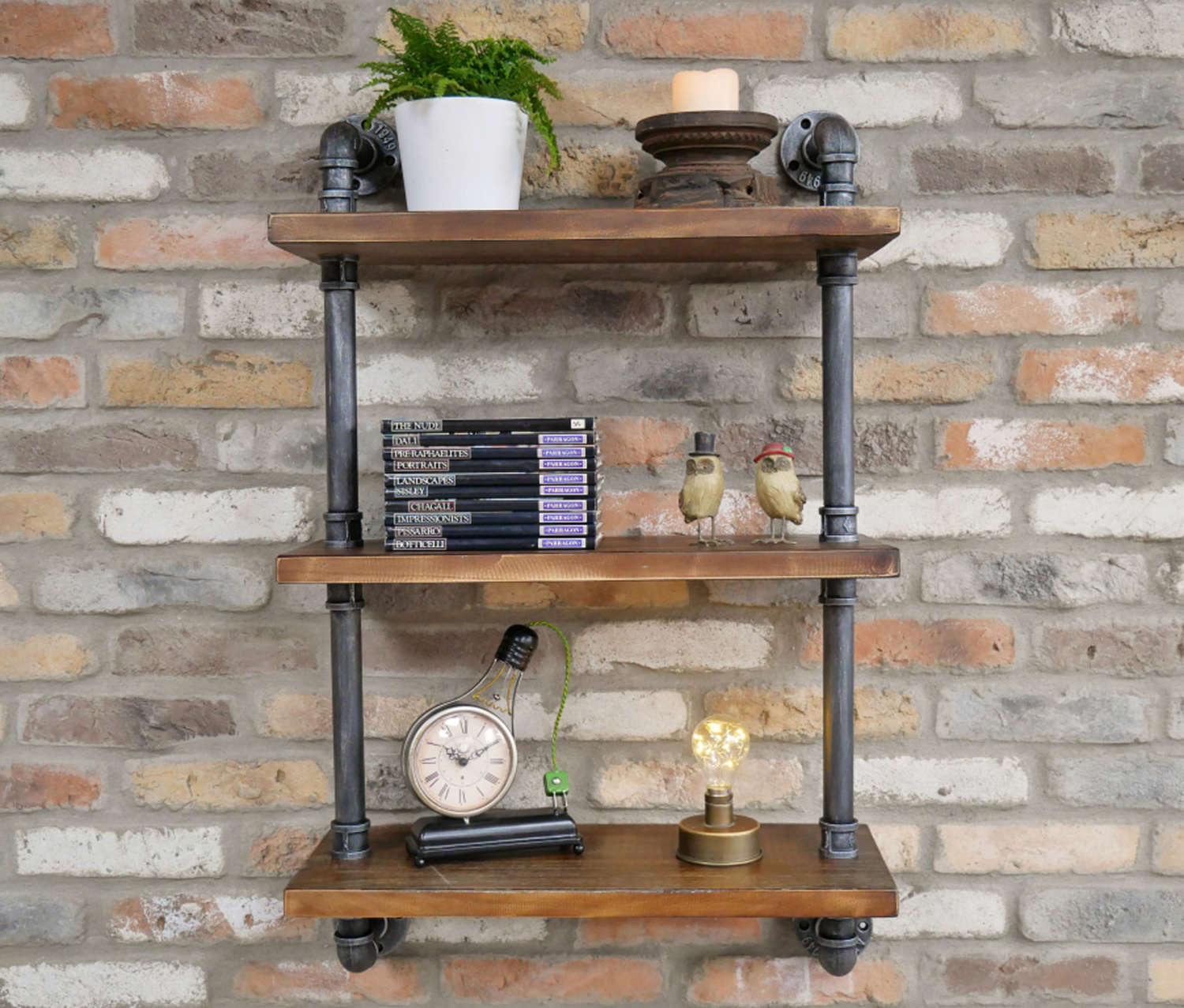 Industrial wood shelving unit with steel pipes