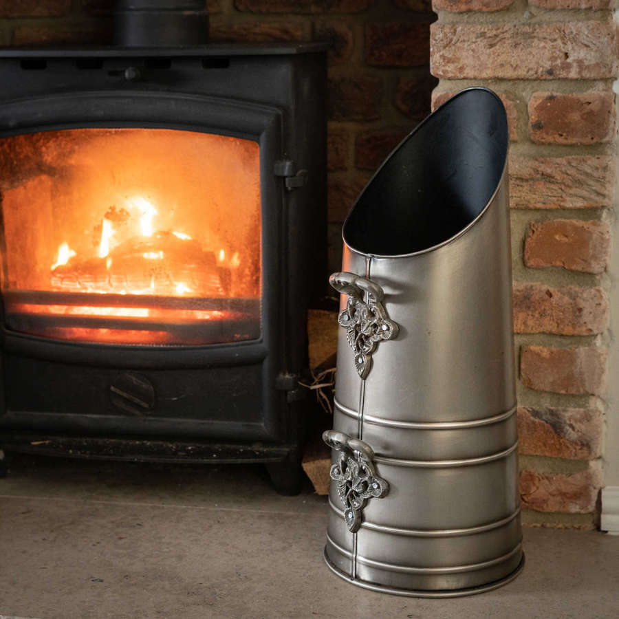 Antique pewter effect coal scuttle