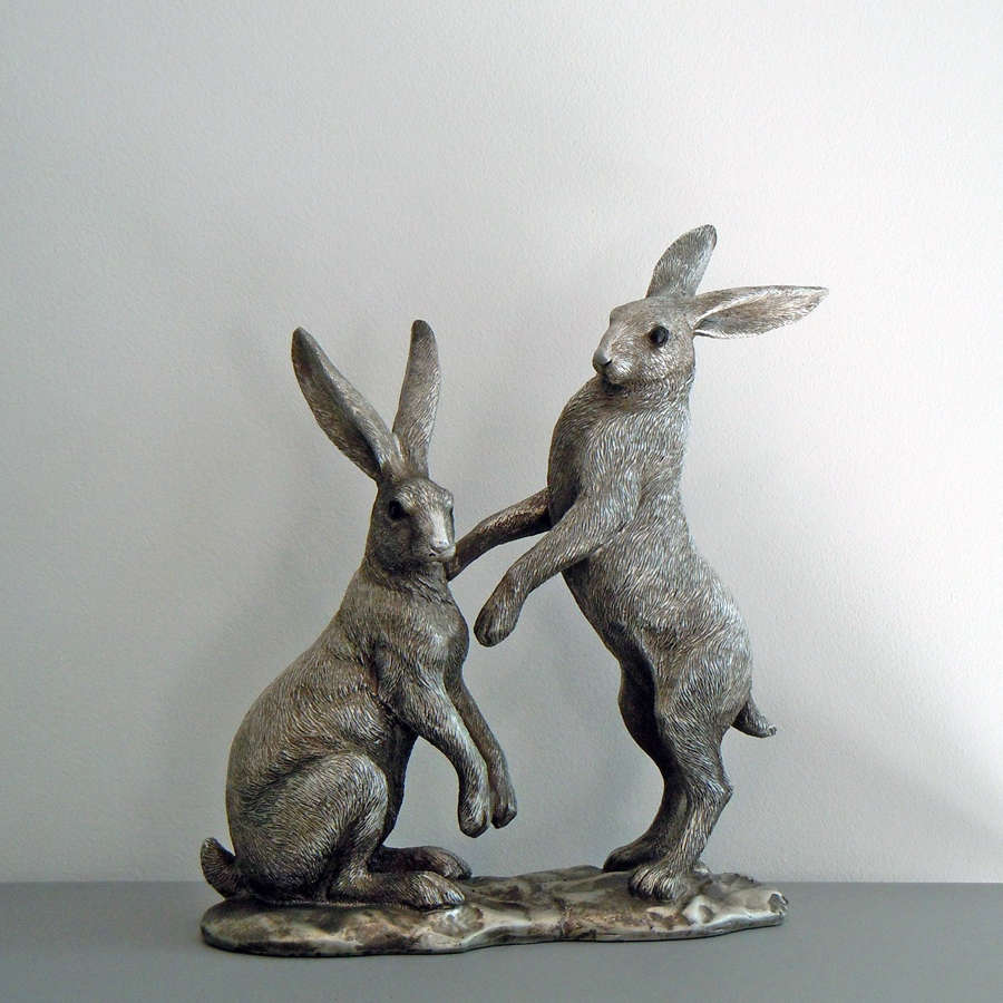 Pair of silver effect Hares