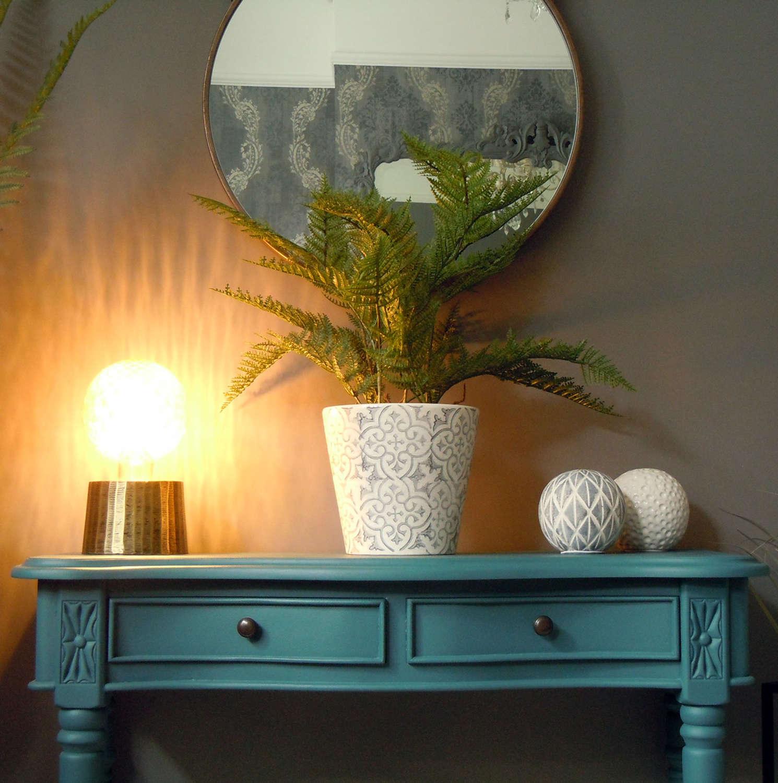 Decorative floral grey and white ceramic plant pots