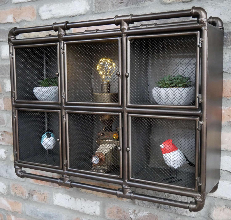 Industrial metal wall hanging cabinet