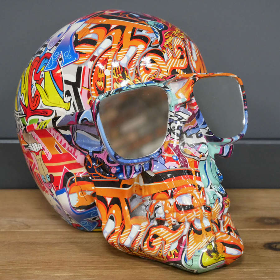 Multi coloured Skull with shades