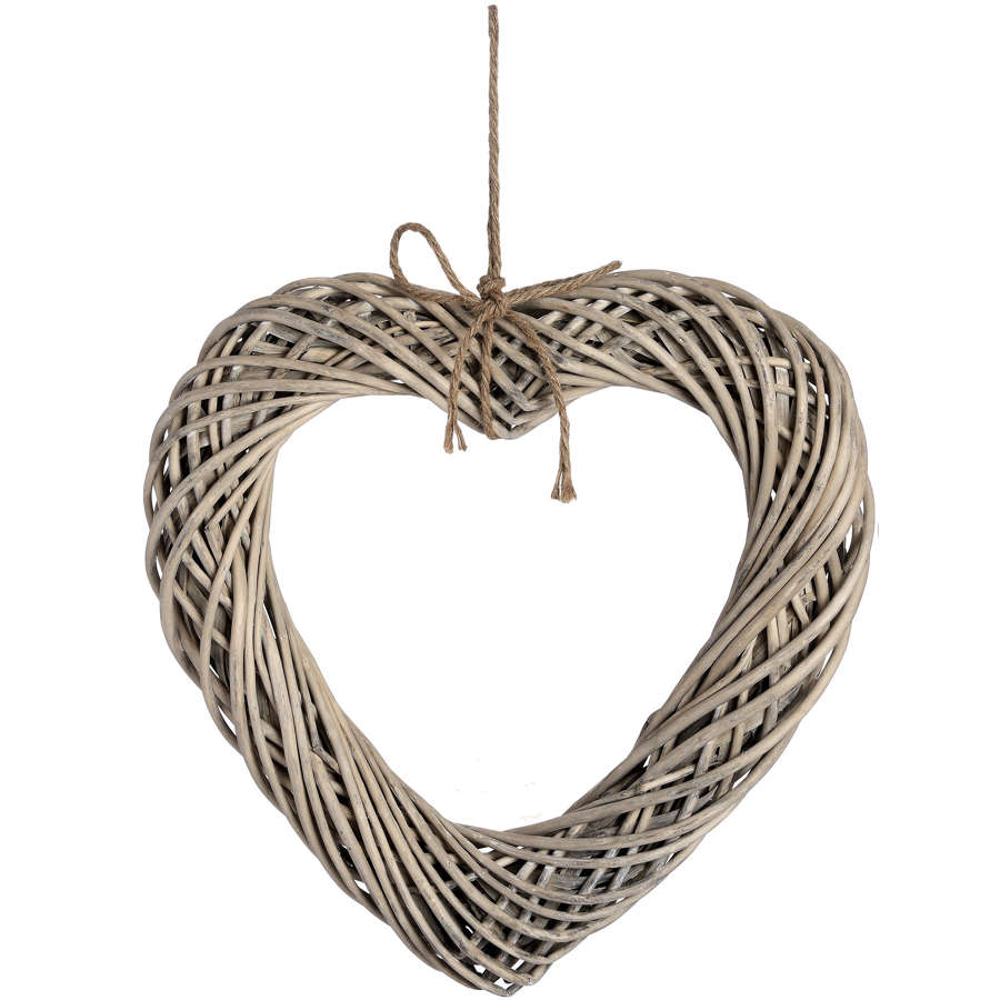 Large wicker hanging Heart with rustic rope