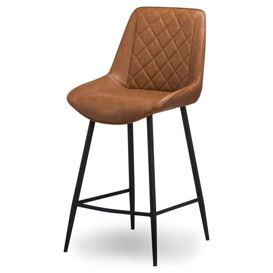 Boston faux leather tan bar stool