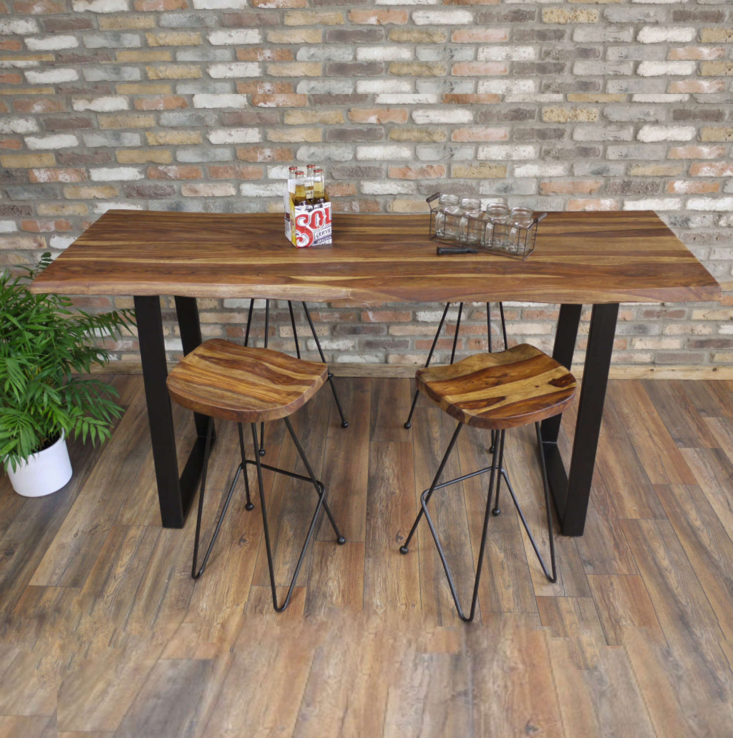 Living Edge Sheesham & Iron breakfast bar