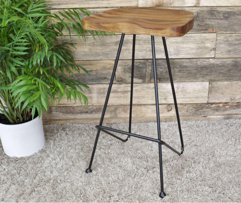 Iron & sheesham wood stool