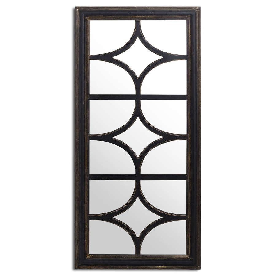 Diamond effect panel style large black distressed wall mirror