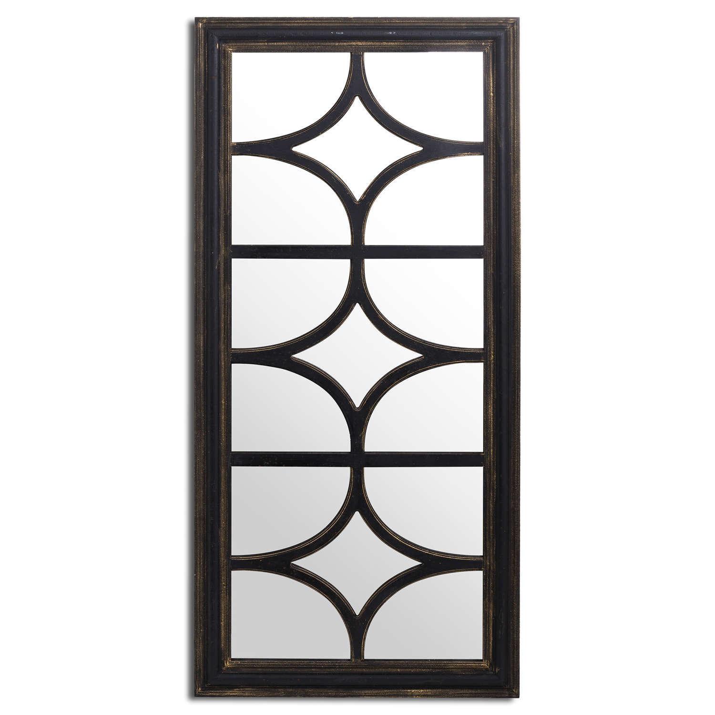 Diamond effect panel style large black distressed wall mirror