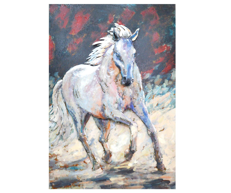 White Stallion 3D metal art on metal canvas