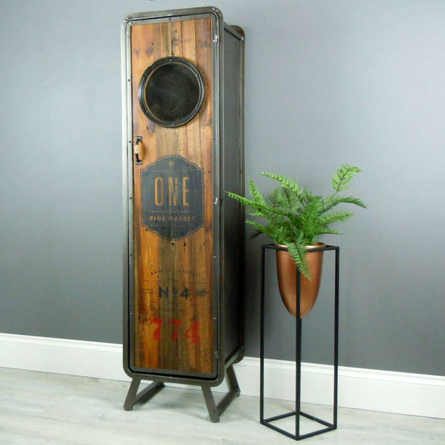 Industrial metal cabinet with shelving