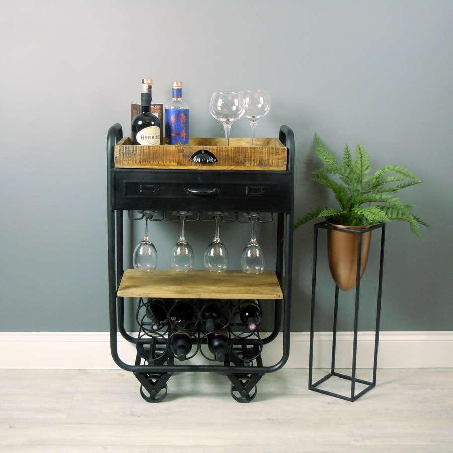 Industrial style drinks trolley