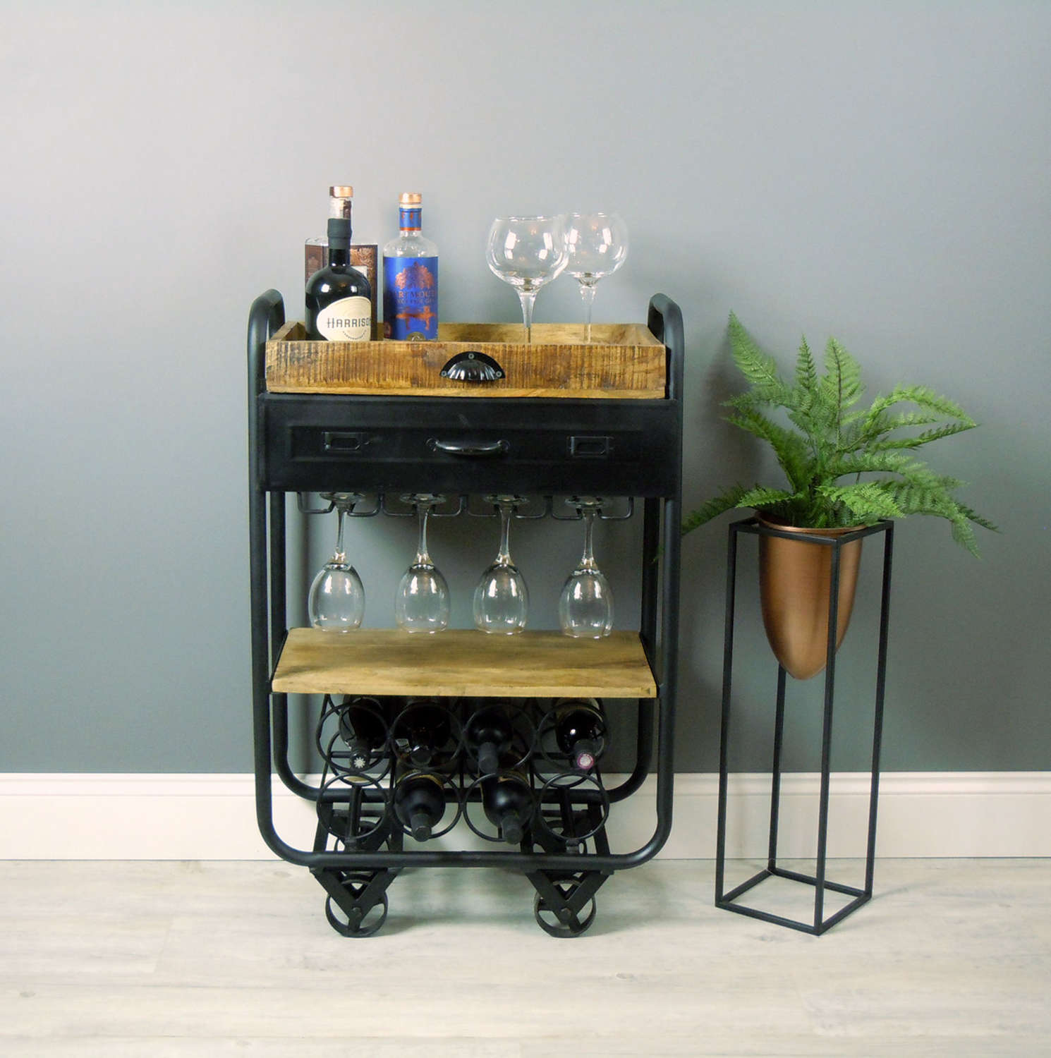 Industrial style drinks trolley