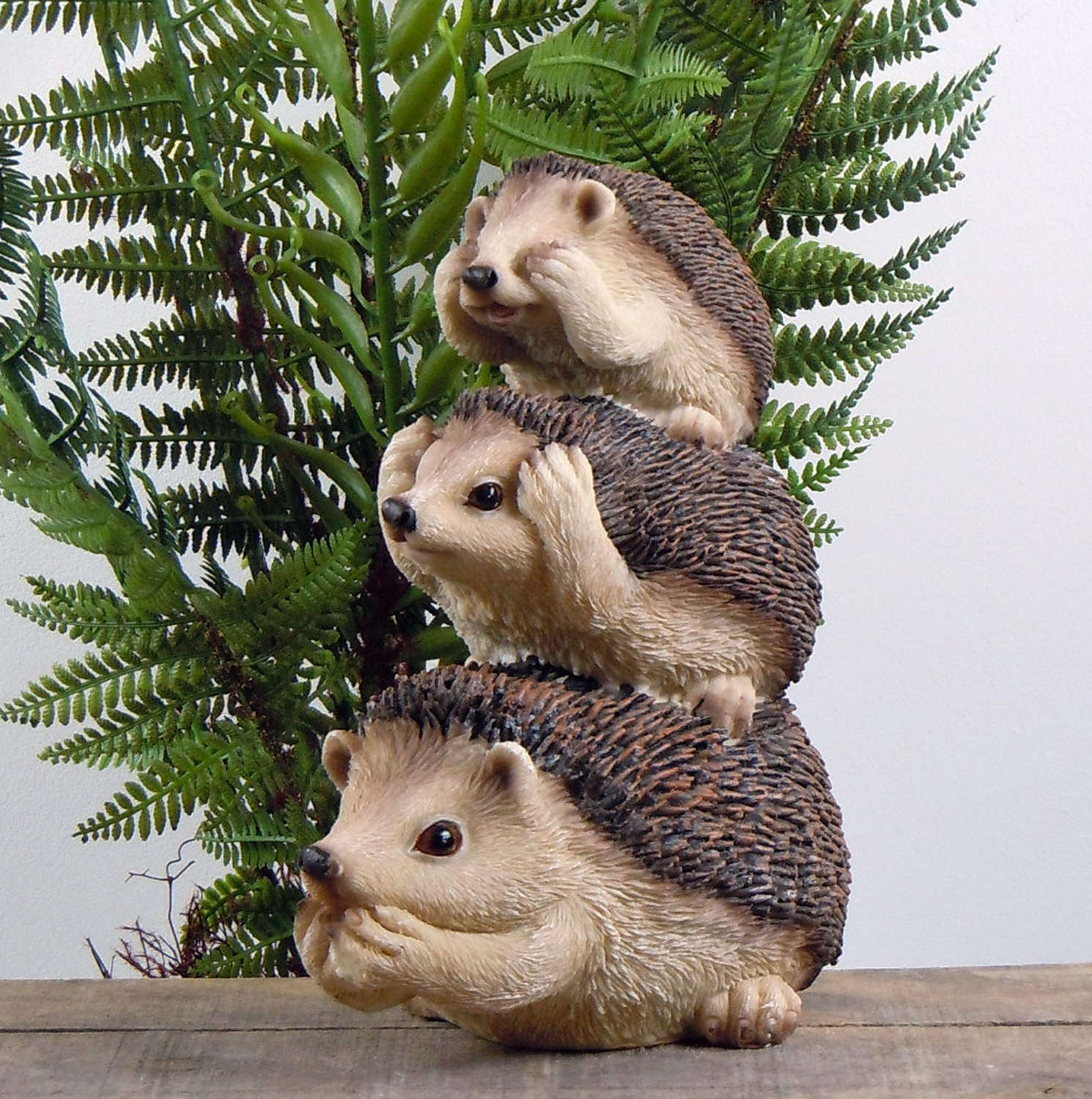 See, hear, speak no evil Hedgehog garden ornament