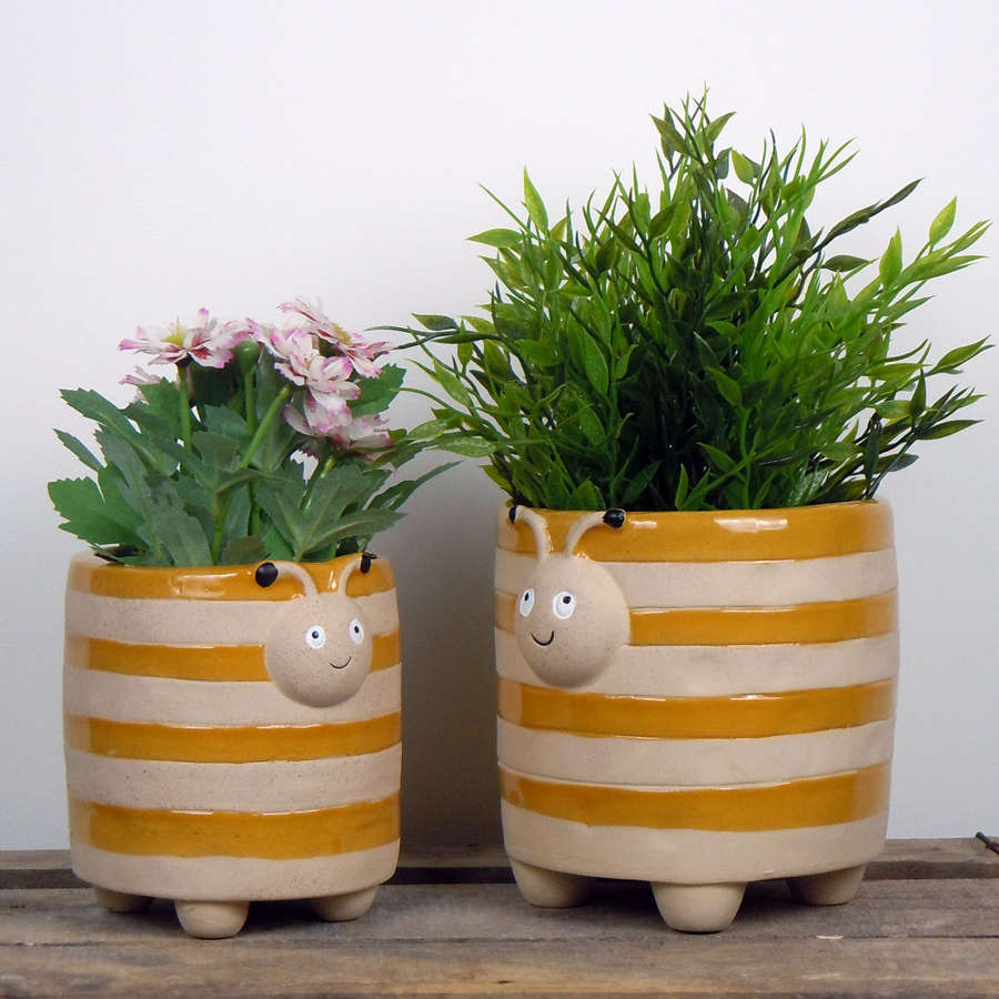 Semi glazed Bee plant pots